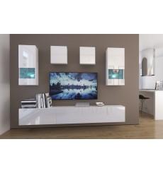 Ensemble meuble TV NEXT 279 AN279-17W-HG21-1A blanc brillant 249 cm