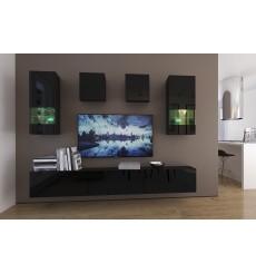 Ensemble meuble TV NEXT 279 AN279-17B-HG20-1A noir brillant 249 cm