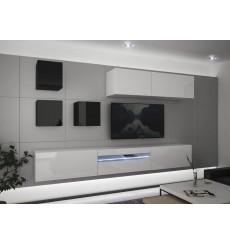 Ensemble meuble TV NEXT 277 AN277-17BW-HG28-1B blanc/noir brillant 273 cm