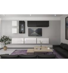 Ensemble meuble TV NEXT 280 AN280-17BW-HG25-1A blanc/noir brillant  260 cm