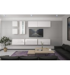 Ensemble meuble TV NEXT 280 AN280-17W-HG21-1B blanc brillant 284 cm
