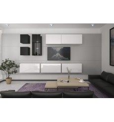 Ensemble meuble TV NEXT 280 AN280-17BW-HG24-1B blanc/noir brillant 284 cm