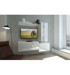 Ensemble meuble TV NEXT 288 AN288-17W-HG21-1B blanc brillant 211 cm