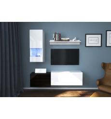 Ensemble meuble TV NEXT 290 AN290-17BW-HG25-1A blanc/noir brillant 151 cm
