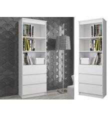 Bibliothèque étagère de bureau RENO  60x180 cm en blanc