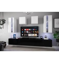 Ensemble meuble TV NEXT 291 AN291-17BW-HG23-1A noir/blanc brillant 249 cm