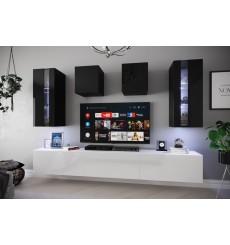 Ensemble meuble TV NEXT 291 AN291-17BW-HG24-1A blanc/noir brillant 249 cm