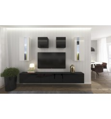 Ensemble meuble TV NEXT 291 AN291-17BW-HG22-1B noir/blanc brillant 273 cm