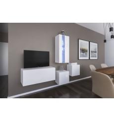 Ensemble meuble TV NEXT 293 AN293-17W-HG25-1A blanc brillant 197 cm