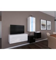 Ensemble meuble TV NEXT 293 AN293-17WB-HG27-1A blanc/noir brillant 197 cm