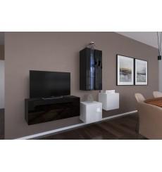 Ensemble meuble TV NEXT 293 AN293-17BW-HG23-1A noir/blanc brillant 197 cm