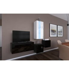 Ensemble meuble TV NEXT 293 AN293-17BW-HG21-1A noir/blanc brillant 197 cm