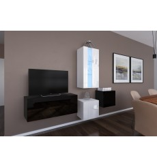 Ensemble meuble TV NEXT 293 AN293-17BW-HG22-1A noir/blanc brillant 197 cm