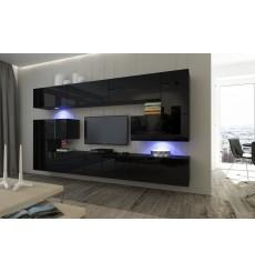 Ensemble meuble TV NEXT 3 AN3-17B-HG20-1A noir brillant 263 cm