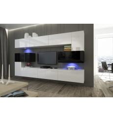 Ensemble meuble TV NEXT 3 AN3-17BW-HG25-1A blanc/noir brillant 263 cm