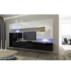 Ensemble meuble TV NEXT 3 AN3-17BW-HG27-1A noir/blanc brillant 263 cm