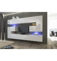 Ensemble meuble TV NEXT 3 AN3-17W-HG21-1B blanc brillant 286 cm