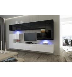 Ensemble meuble TV NEXT 3 AN3-17WB-HG22-1B  blanc/noir brillant 286 cm