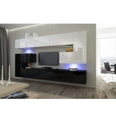 Ensemble meuble TV NEXT 3 AN3-17BW-HG23-1B noir/blanc brillant 286 cm
