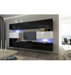 Ensemble meuble TV NEXT 3 AN3-17BW-HG24-1B noir/blanc brillant 286 cm