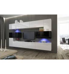 Ensemble meuble TV NEXT 3 AN3-17BW-HG25-1B blanc/noir brillant 286 cm