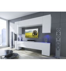 Ensemble meuble TV NEXT 33 AN33-17W-HG22-1A blanc brillant 240 cm