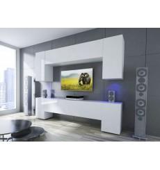 Ensemble meuble TV NEXT 33 AN33-17W-HG22-1B blanc brillant 256 cm