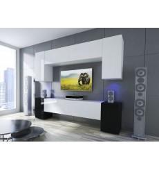 Ensemble meuble TV NEXT 33 AN33-17WB-HG23-1B blanc/noir brillant 256 cm