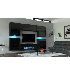 Ensemble meuble TV NEXT 37 AN37-18HG-B1 noir brillant 257 cm