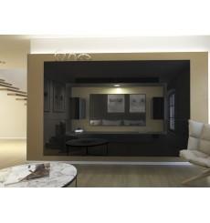 Ensemble meuble TV NEXT 4 AN4-17B-HG20-1B noir brillant 256 cm