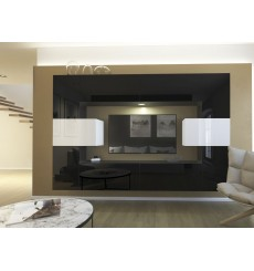 Ensemble meuble TV NEXT 4 AN4-17BW-HG21-1B noir/blanc brillant 256 cm