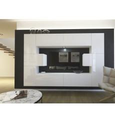 Ensemble meuble TV NEXT 4 AN4-17W-HG22-1B blanc brillant 256 cm