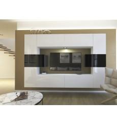 Ensemble meuble TV NEXT 4 AN4-17WB-HG23-1A blanc/noir brillant 240 cm