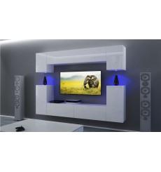 Ensemble meuble TV NEXT43 AN43-17W-HG26-1B blanc brillant 256 cm