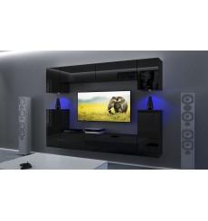 Ensemble meuble TV NEXT43 AN43-17B-HG20-1B noir brillant 256 cm