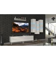 Ensemble meuble TV NEXT 45 AN45-18W-HG2 blanc brillant 303 cm