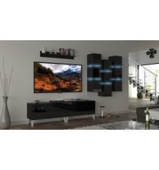 Ensemble meuble TV NEXT 45 AN45-18B-HG1 noir brillant 303 cm