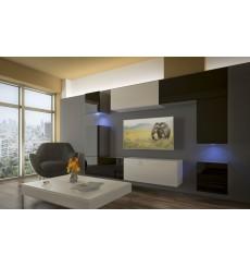 Ensemble meuble TV NEXT 5 AN5-17BW-HG22-1A blanc/noir brillant 240 cm