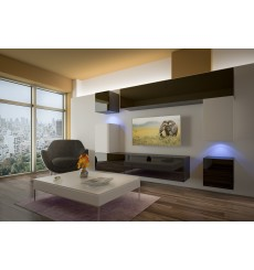 Ensemble meuble TV NEXT 5 AN5-17BW-HG23-1A noir/blanc brillant 240 cm