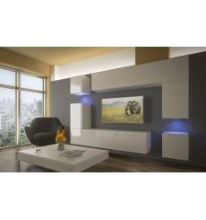 Ensemble meuble TV NEXT 5 AN5-17W-HG26-1A blanc brillant 240 cm