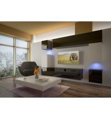 Ensemble meuble TV NEXT 5 AN5-17BW-HG23-1B noir/blanc brillant 256 cm