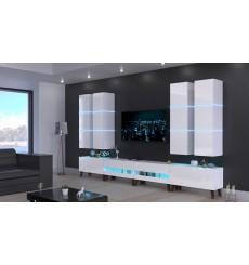 Ensemble meuble TV NEXT 51 AN51-18W-HG2 blanc brillant 364 cm
