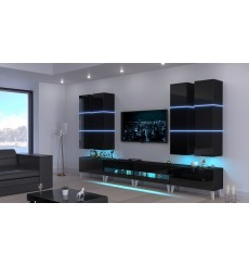 Ensemble meuble TV NEXT 51 AN51-18B-HG1 noir brillant 364 cm