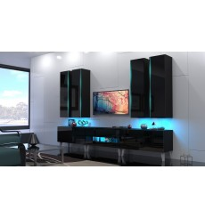 Ensemble meuble TV NEXT 52 AN52-18B-HG1 noir brillant 273 cm