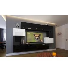 Ensemble meuble TV NEXT 6 AN6-17BW-HG21-1A noir/blanc brillant 204 cm
