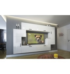 Ensemble meuble TV NEXT 6 AN6-17W-HG22-1A blanc brillant  204 cm