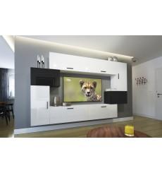 Ensemble meuble TV NEXT 6 AN6-17WB-HG23-1B blanc/noir brillant 256 cm