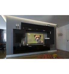 Ensemble meuble TV NEXT 6 AN6-17B-HG20-1B noir brillant 256 cm