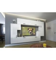 Ensemble meuble TV NEXT 6 AN6-17W-HG22-1B blanc brillant 256 cm