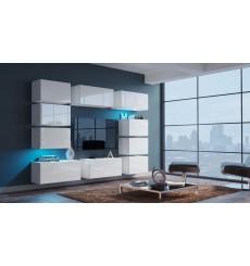 Ensemble meuble TV NEXT 62 AN62-18W-HG2 blanc brillant 256 cm
